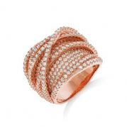 J-JAZ Micro Pave Rose Coated Fancy Silver Cz Ring #4